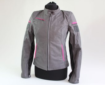Dainese Michelle Lady Leather Jacket szaro/czarny/fuksja
